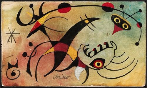 Poster Foto Hd Joan Miró 60x100cm Obra Cálculo Do Pássaro