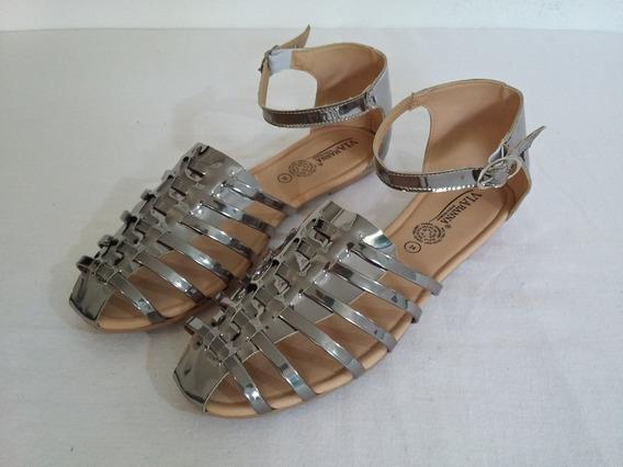 Sandalias Metálicas Plateado Plata Bonitas De Moda Comodas