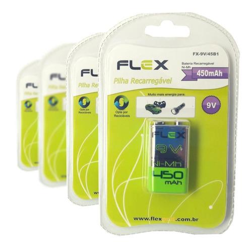 Kit 04 Bateria 9v Recarregável Flex Para Microfones 450mah