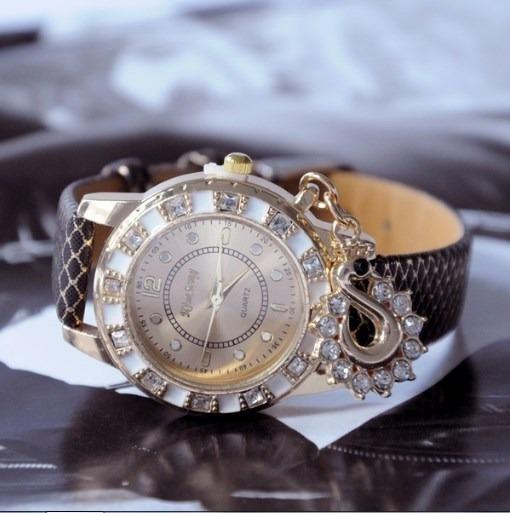Relógio Feminino Kim Seng Preto E Dourado Pulseira Couro