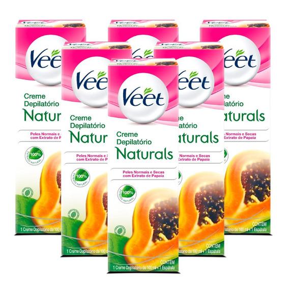 Depilação Veet Creme Depilatório Naturals Papaia - 6 Unid