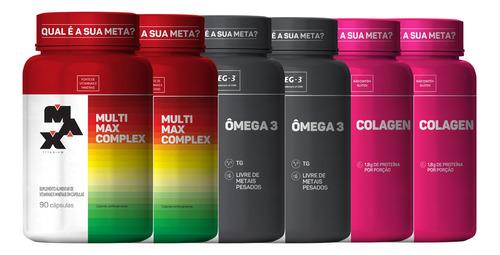 Combo 2x Colagen + 2x Ômega 3 + 2x Multimax Complex Max Tita