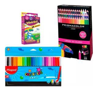 Regalo* + Caja Con 48 Colores Prismacolor Junior Originales + Caja Crayolas Con 20 Tonos + 24 Plumones Ocean Maped