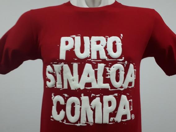 2 Playeras Puro Sinaloa Compa Frase Psc Color Rojo Culiacán