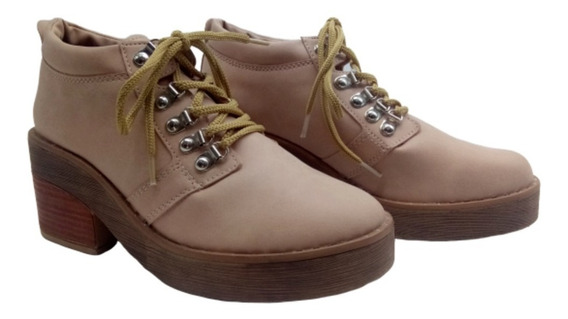 Borcego Acordonado Zapato Botineta Taco Moda Mujer Savage