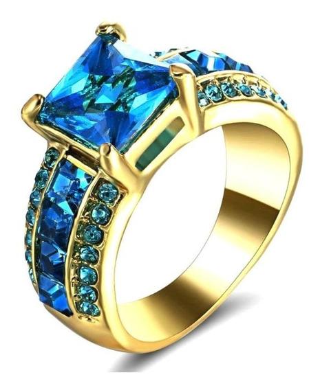 Anel Feminino Pedra Cristal Água Marinha Azul 812 P