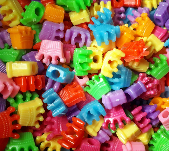 100 Miçangas De Coroas Infantil Rainbow Pulseiras Coloridas