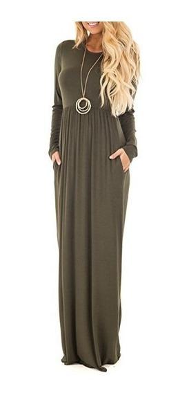 Vestido Largo Manga Larga Elegante Casual Otoño Vintage