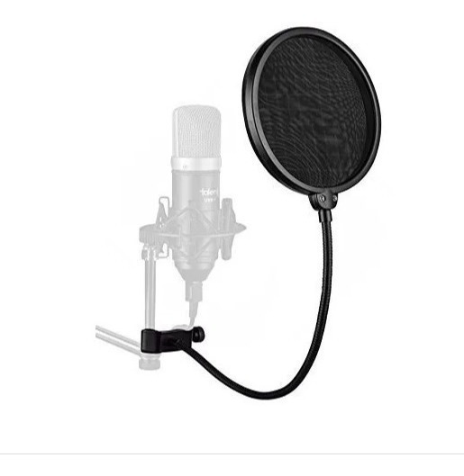 Pop Filter Tela Anti Sopro Para Microfone Com Haste Flexivel