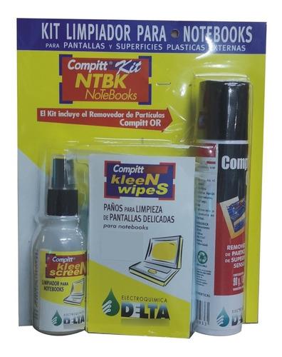 Imagen 1 de 5 de Kit Limpieza Notebook Limpia Pantallas 18 Paños Aire Delta