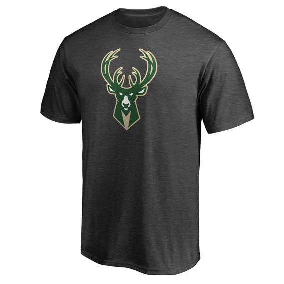 Remera Basket Nba Milwaukee Bucks Logo Simple Tres Negra