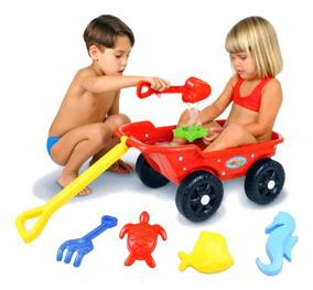 Brinquedo Carrinho De Puxar Infantil Vermelho Praia - Kepler