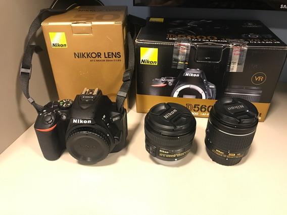 Câmera Nikon D5600 Com Lente 18-55mm + Lente 50mm F / 1.8g