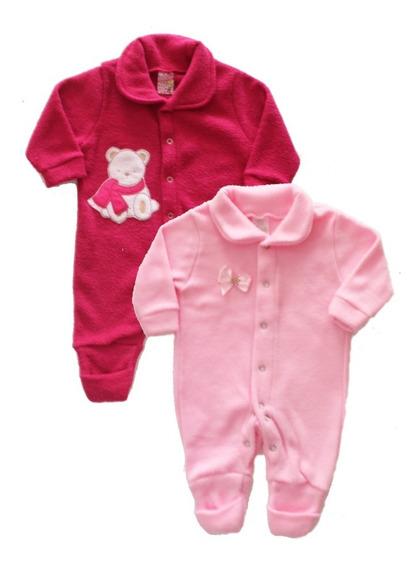 Kit 2 Macacaos Menina Tip Tops Bebê Soft Boucle - Rosa Pink