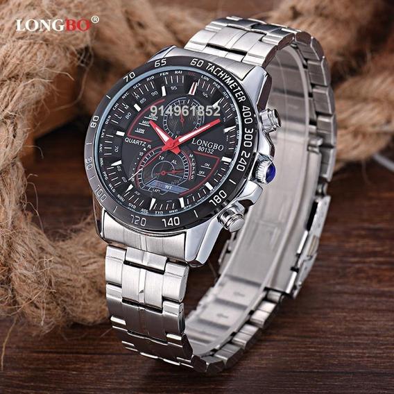 Reloj Longbo Rojo Original Hombre Elegante Rojo Acero Inoxid