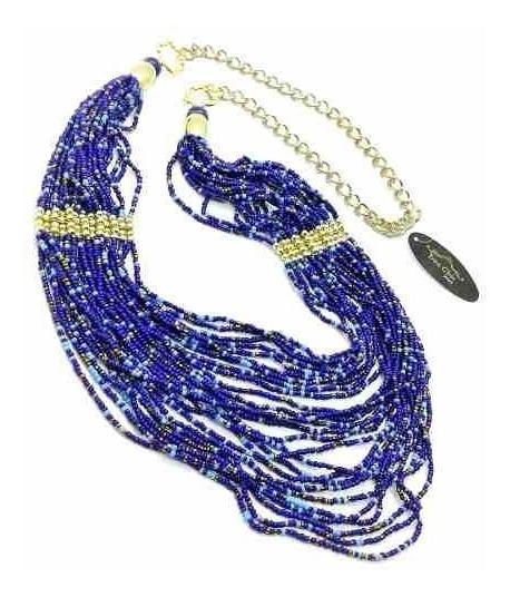 Colar Contas Azuis 26 Fios Detalhe Bolinhas Douradas 2108