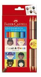 Lápis De Cor 12 Cores E 6 Tons De Pele Faber Castell