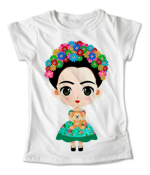 Blusa Frida Kahlo Colores Playera Estampado Verde 067