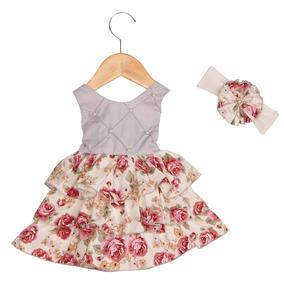 Vestido Para Bebê Perolas Cinzas + Faixa De Cabelo