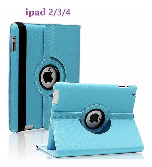 Capa Case iPad 2 3 4 Giratória Couro Executivo Sky Blue