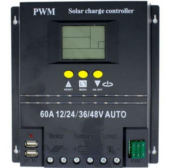 Controlador De Carga 60a 12v 24v 36v 48v Solar 2 Usb Lorben