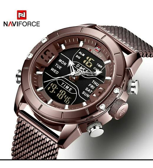 Relógio Naviforce Digital E Análogo Em Aço Inoxidável Marrom