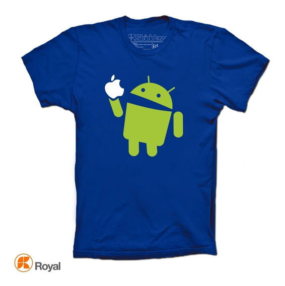 Playeras Android Eats Apple Geek iPhone Funny Nerd Hipster