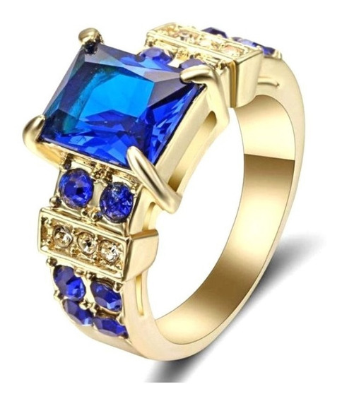 Aro 16 Anel Feminino Safira Pedra Cristal Cor Azul 225 P