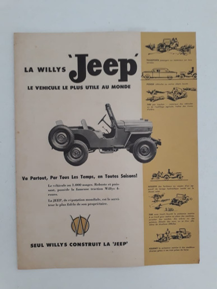 Folder Folheto Brochura Jeep Willys Raro Antigo !!!