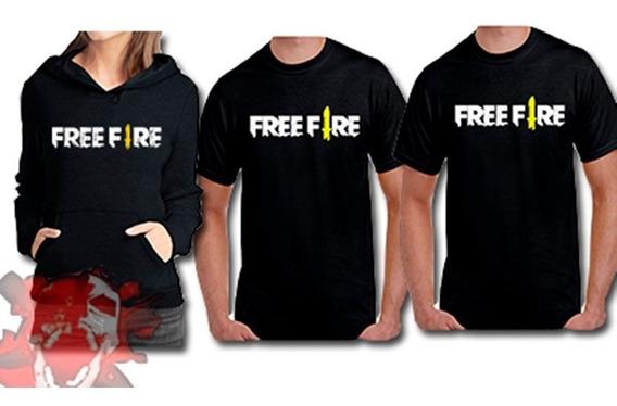 Blusa De Frio Moletom + 2 Camisetas Free Fire