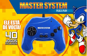 Video Game Master System 40 Jogos Plug & Play - Azul