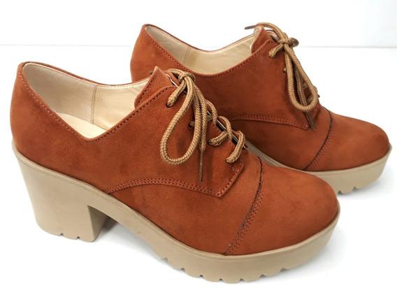 Sapato Oxford Feminino Salto Alto Grosso Tratorado Telha