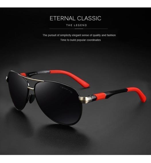 Óculos De Sol Aviador Polarizado Uv400 Merrys Original