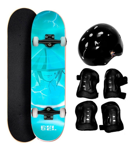 Imagem 1 de 5 de Skate Skatboard Semi Pro Street  Iniciante Lixa Kit Proteção