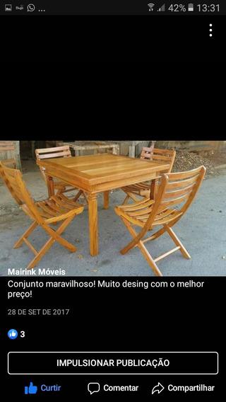 Conjunto Mesa Com 4 Cadeiras Dobráveis Areia Gourmet
