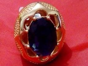 Anel Grande Pedra Natural Azul