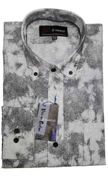 Camisa Estampada Molderia Normal Con Tablón En Espalda Gris