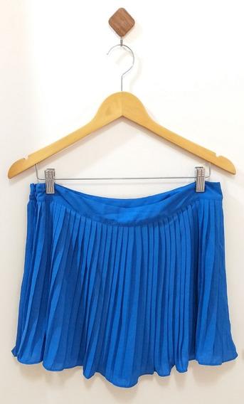 Saia Curta Mini Plissada Azul Short Por Baixo Moda Feminina