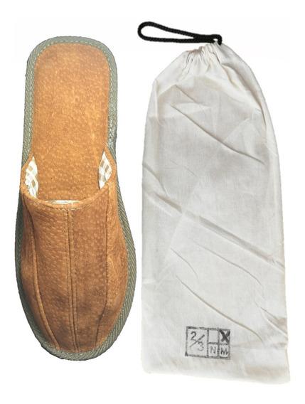 Pantuflas De Cuero Legítimo | Chinela Hombre + Bolsa Regalo