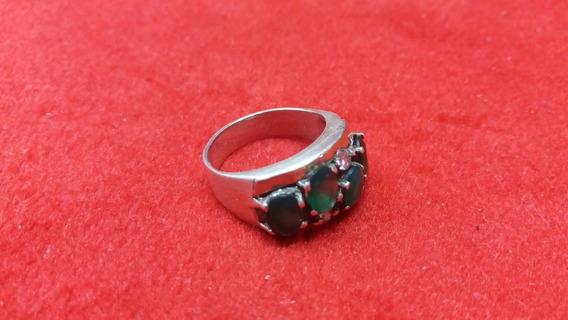 E6 Anel De Ouro E Prata Pedras Verdes