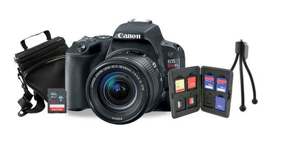 Kit Canon Sl2 C/ 18-55mm Stm+tripé+sd 32gb+bolsa+case Cartão