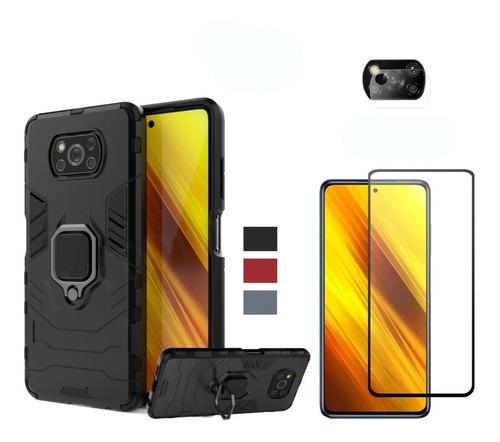 Estuche Funda Xiaomi Pocophone X3 + Vidrio Templado + P.cam