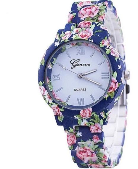Relógio Geneva Florido + Caixa Acrílico Transparente Grátis