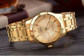Relógio Dourado Luxo Casual Aço Inox Chenxi 368