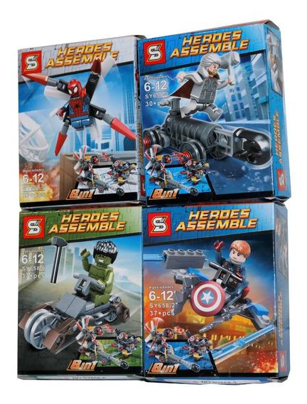 Kit 4 Bonecos Homem Aranha Hulk Thor Capitão + Veiculos