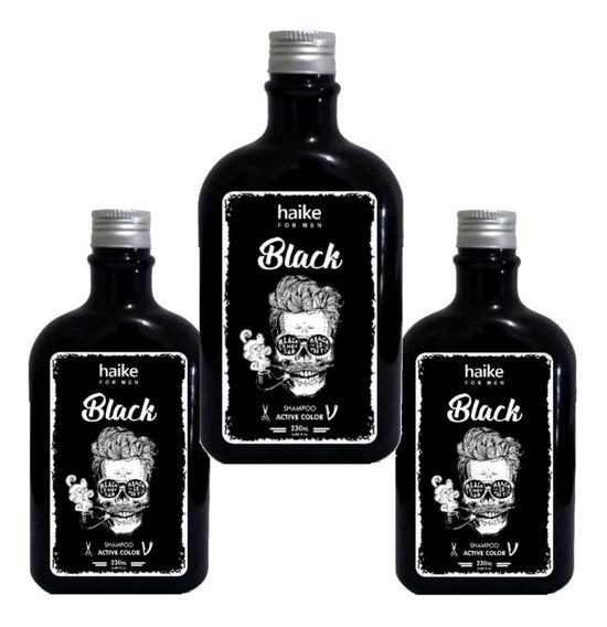 Kit 3 Shampoo Gradual Black Restaurador Cabelos Grisalhos