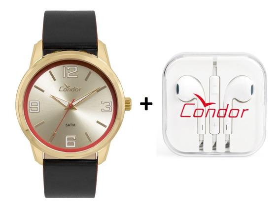 Relógio Condor Masculino Dourado Com Fone Co2035kwv/k2d