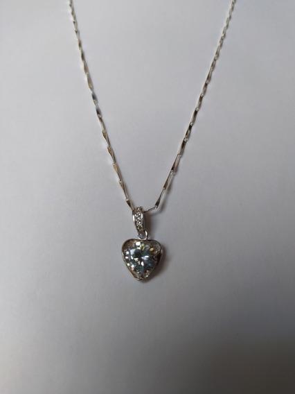 Hermoso Collar Corazón Plata 925 Cristales Amor