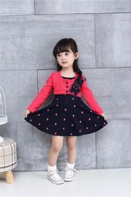 Vestido Infantil De Bolinhas Com Bolero Frete Grátis