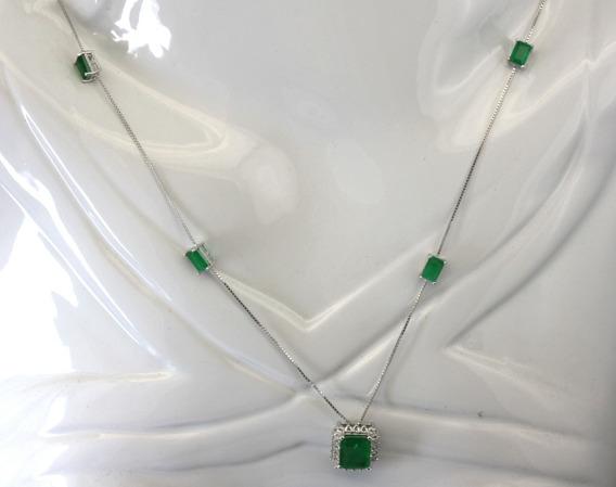 Colar Com Zircônios Esmeralda Em Prata 925